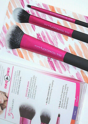 Real Techniques CHEEK & LIP SET 3 makeup brushes duo fiber contour and lip brush