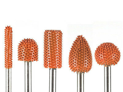 "Carving Tool Set 10% Discount 5pc Saburr Tooth Carbide Burrs Orange 1/4"" Shaft"