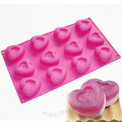Lovely Heart Ice Cube Chocolate Cake Jelly Muffin Cupcake Silicone Mold Mould