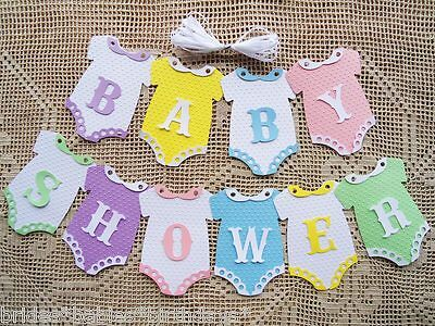 10 Bunting Flags Banners Garland Onesies  BABY SHOWER Coloured Unisex DIY F9
