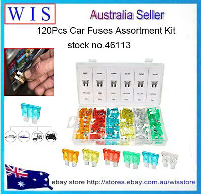 120pcs Large Standard Car Fuse Set 5/10/15/20/25/30amp Vehicle/Blade/Wedge/Spade