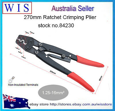 1.25-16mm² 16-6AWG Ratchet Terminal Crimping Plier For Non-Insulated Point Type