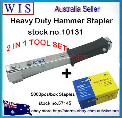 2 in 1 140 Type Manual Hammer Tacker & 5000 10mm Staples for Insulation Job