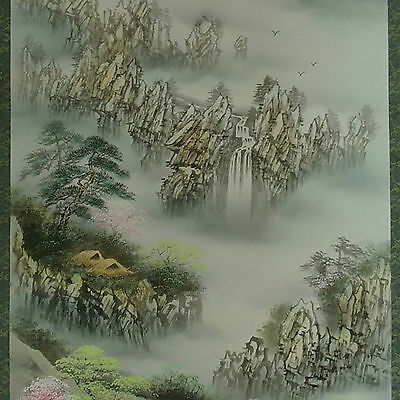 Spectacular scenic views Korean landscape deep valley folk painting wall hanging