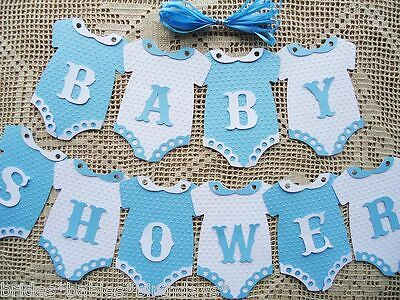 10 Bunting Flags Banners Garland BABY SHOWER Blue Boy DIY L6