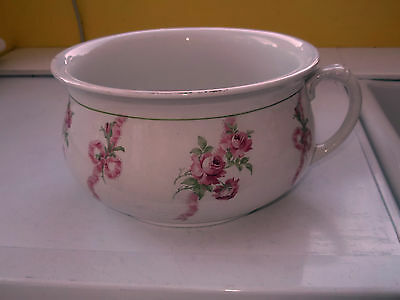 BOOTHS  SILICON CHINA  POTTY / PLANTER WITH A PINK ROSE ON A RIBBON PATTERN