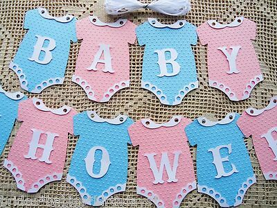 10 Bunting Flags Banners Garland Onesies  BABY SHOWER Pink Blue Unisex DIY