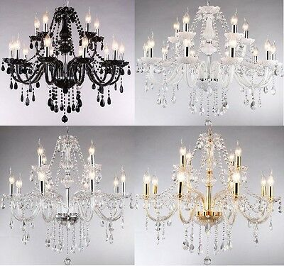 Crystal Chandelier Ceiling Lamp Pendent Light Glass Beads - 3 Size X 7 colors