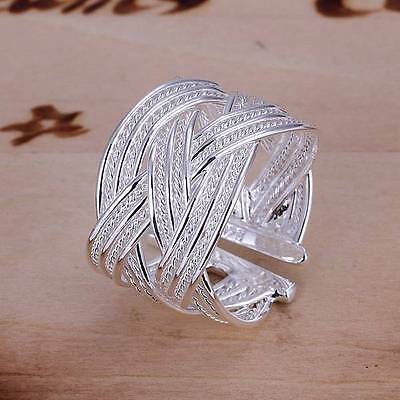 wholesale 925 silver filled ring weaving fashion jewelry party gift size 8