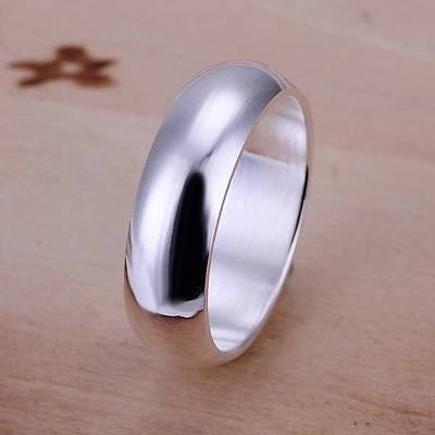 925 silver filled ring classic Plain rings women's men's fashion jewelry gift