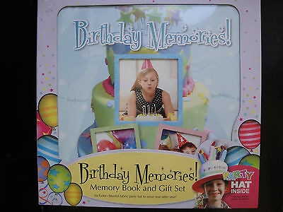 NEW BIRTHDay Baby Book Shower Gift Set BOY/GIRL Picture Frame Photo Prop Hat