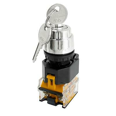 380V 10A 22mm Dia Thread DPST 2 Positions Key Rotary Selector Switch