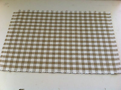 Taupe & White Gingham Check 100% Cotton Rib Placemat - 33 x 48cm