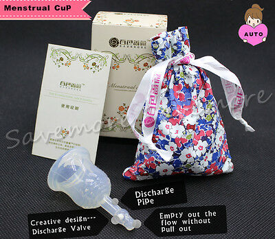 Auto Menstrual Period Cup with Discharge Valve 100% Medical Silicone Reusable