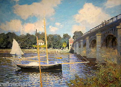 The Bridge at Argenteuil II by Claude Monet Giclee Print Repro on Canvas