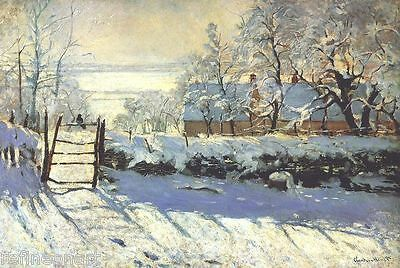 The Magpie by Claude Monet Giclee Print Repro on Canvas