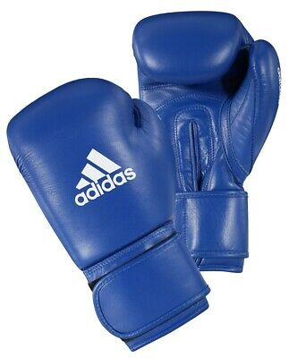 Adidas AIBA Licensed Boxing Gloves Blue Olympic Fight Gloves 10oz 12oz Leather