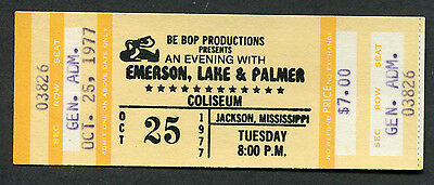 Original 1977 Emerson Lake & Palmer unused full concert ticket Jackson Lucky Man