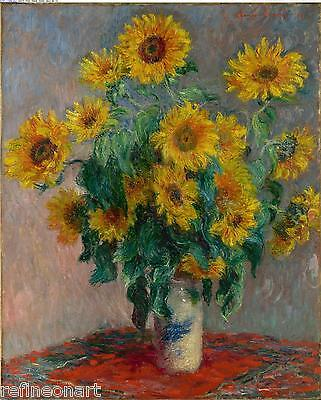 Bouquet of Sunflowers by Claude Monet Giclee Fine Art Print Repro on Canvas