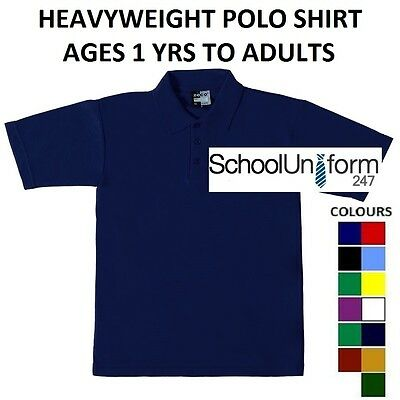 Boys Girls Kids Adults Zeco School Polo Shirts Sports PE Plain Tops 1-18+ years