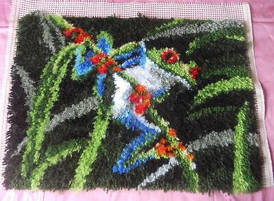 Vintage Completed Latch Hook Yarn Tapestry Frog Suit Cushion Wall Hanging Etc