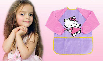 Kid Paint Apron Smock with 3 Pockets Water proof Hello Kitty Long Sleeve