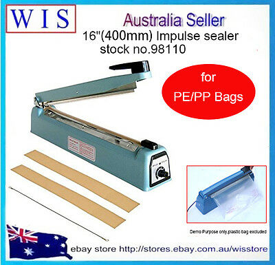 """16""""(400mm) Impulse sealer for PE/PP bags with 2 Spare Replacement Kits-98110"""