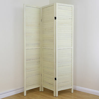 Cream 3 Panel Wooden Slat Room Divider Home Privacy Screen/Separator/Partition