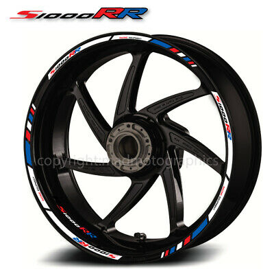 BMW s1000RR motorcycle wheel decals 12 rim stickers laminated set hp4 stripes