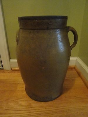 antique*Rare 3 Gallon*Pottery*Jar jug handle*primitive*churn*vase vintage old