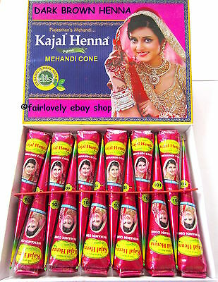 £4.99 BOX OF 12 FRESH ORGANIC Kajal DARK BROWN Henna Mehndi Cones Tubes *NO PPD*