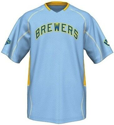 a92e90a86f7 Milwaukee Brewers MLB Majestic Vintage Mens Champ Jersey Blue Big   Tall  Sizes