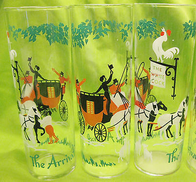 3 Libbey Glass The Arrival Stagecoach Carriage Horse Rooster Mid Century Vtg