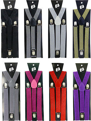 Suspenders Y Shape Clip On Elastic Braces Adjustable Suit Fashion White Lime New