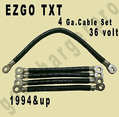4 gauge EZ-GO TXT Golf Cart Battery Cable Set EZGO HEAVY DUTY SOLDERED ENDS
