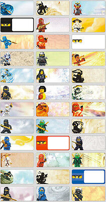 36 Lego Ninjago Personalised Name Label Sticker 3x1.3cm vinyl Ninja kids tag boy