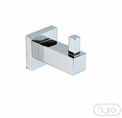 Robe Towel Hook Single Modern Chrome Square Design Solid Brass Bathroom New Rail