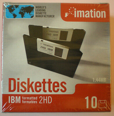 "10x Imation Disketten 3,5"" Floppy Disk HD-MF2 1,44 MB DOS-formatiert Diskettes"