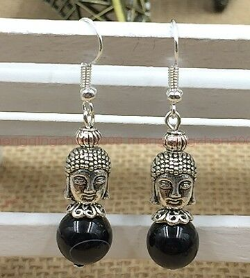 Original handmade Tibet silver natural obsidian Buddha beads earrings Y049