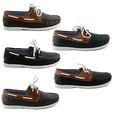 New Mens Leather Lace Up Deck Boat Casual Shoes Uk Size 7 8 9 10 11