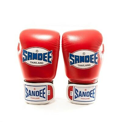 Sandee Authentic Leather Boxing Gloves - Red/White Thai Boxing gloves