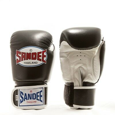 Sandee Authentic Leather Boxing Gloves - Black/White Thai Boxing Gloves