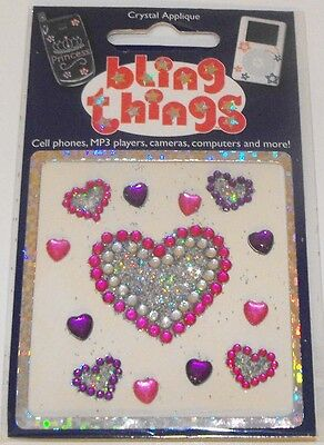 Hearts with Glitter Crystal Cell Phone BLING THING iPhone Sticker iPod Decal