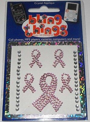 5 Pink Ribbons Crystal Appliqué Cell Phone BLING THING iPhone Sticker iPod Decal