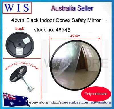 450mm Black Indoor Convex Security Safety Mirror,Unbreakable,PC,Wide Angle-46545