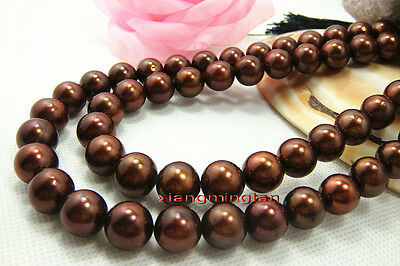 """AAAAA 35""""11-12mm REAL ROUND south sea chocolate pearl necklace 14K GOLD"""