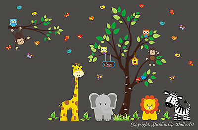 Animal Wall Decals - Removable Wall Stickers - Nursery Room Decals - Baby Swag