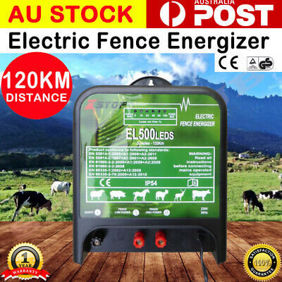 120km 220-240V 5J Electric Fence Energizer Energiser Charger Poly wire Tape Sale