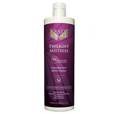 Crazy Angel Twilight Mistress Medium Dark 9% Tanning Spray Airbrush 1000ml Litre