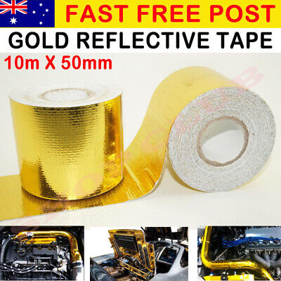 New Gold Foil Heat Insulating Tape Hose Wrap Reflective Shield Adhesive 50mmx10m